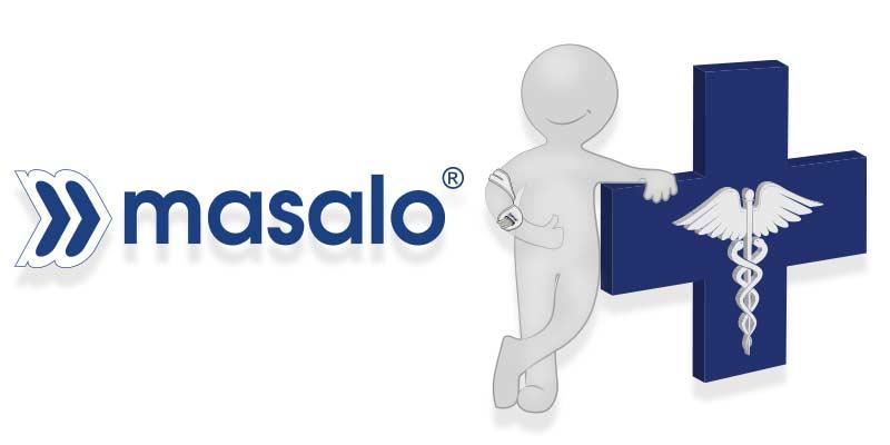 Masalo Logo und Masalo Medical Man als logo für den Fachhandelsvertrieb der Masalo Manschette