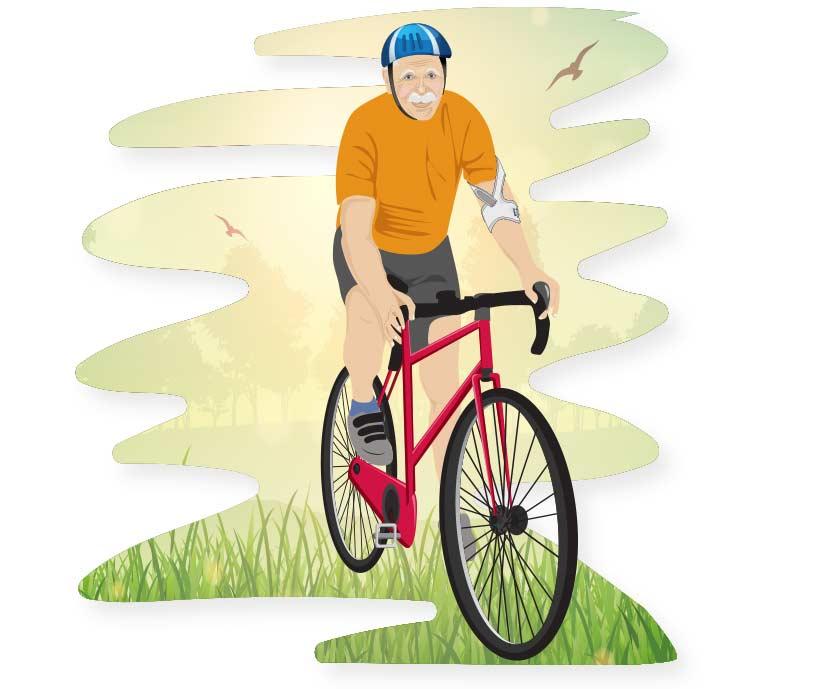 Älterer Mann fährt auf einem Fahrrad und trägt Masalo Manschette MED gegen Tennisarm