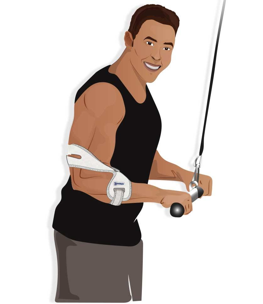 Illustration eines Kraftsportlers mit Masalo Manschette MED beim Trizepsdrücken
