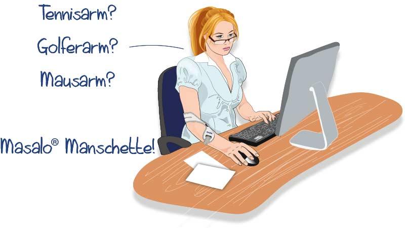 Frau arbeitet am Computer und trägt dabei die Masalo Manschette gegen Tennisarm, Golferarm, Mausarm