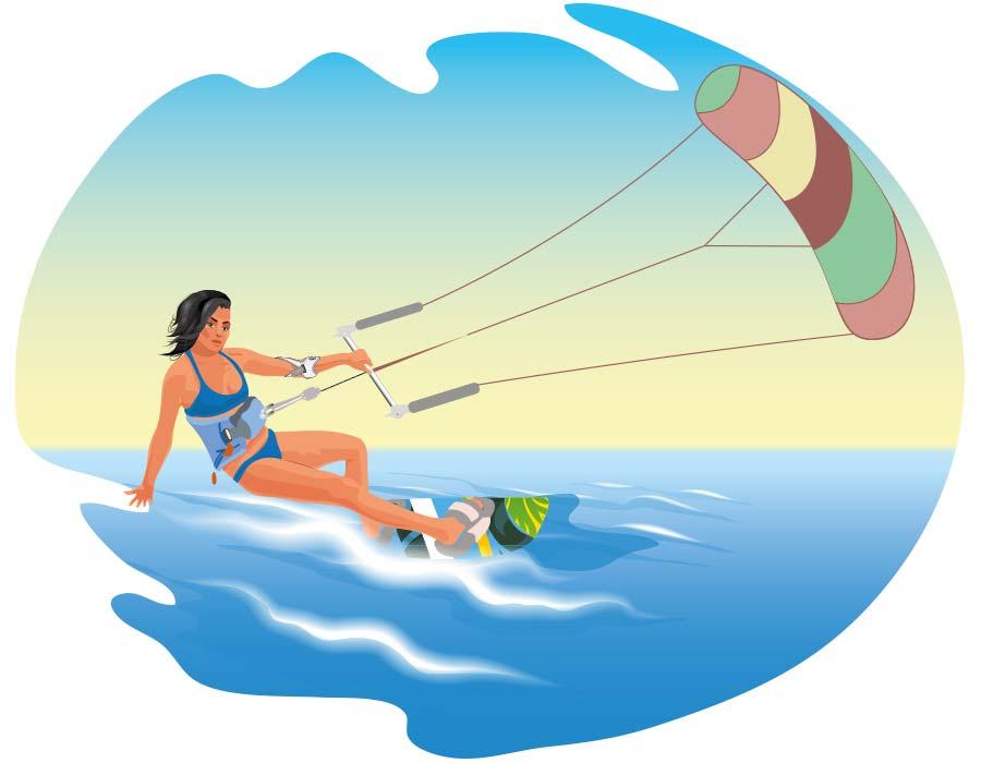 Kitesurferin beim Wassersport mit Masalo Manschette MED gegen Tennisarm