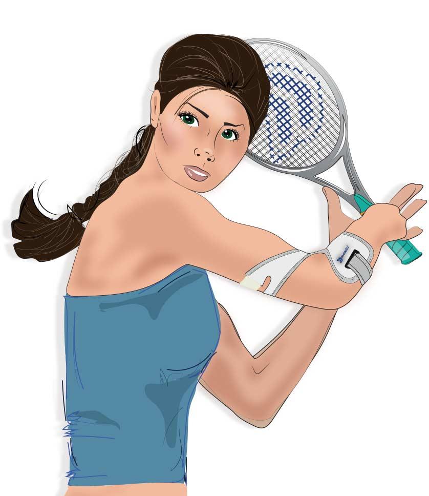 Illustration einer Tennisspielerin mit Masalo Manschette