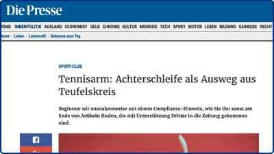 Pressebericht und Testbericht zur Masalo Manschette gegen Tennisarm, Golferarm bei der österreichischen Tageszeitung Die Presse