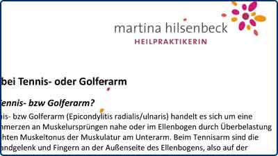 Pressebericht und Testbericht zur Masalo Manschette gegen Tennisarm, Golferarm bei Heilpraktikerin Martina Hilsenbeck