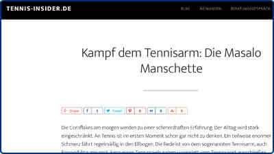 Pressebericht und Testbericht zur Masalo Manschette gegen Tennisarm, Golferarm bei Tennis-Insider
