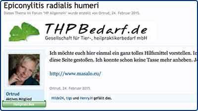 Pressebericht und Testbericht zur Masalo Manschette gegen Tennisarm, Golferarm bei THPBedarf
