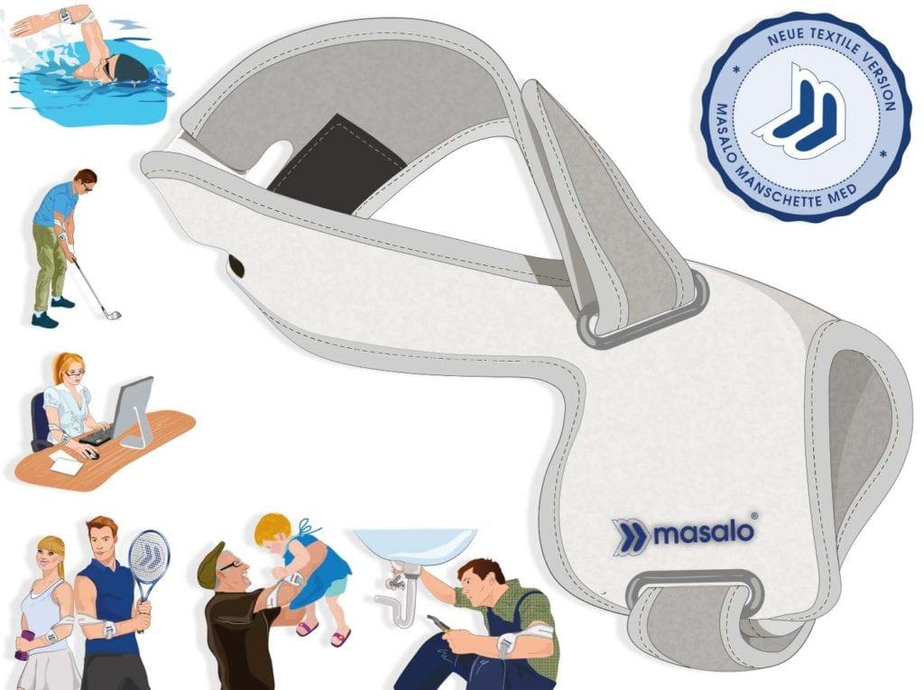 Illustration der Masalo Manschette MED Tennisarmmanschette